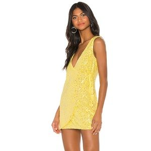H:OURS Yellow Sequin Wrap Front Dress